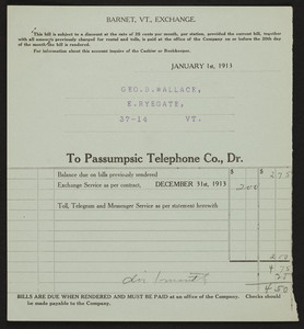Billhead for the Passumpsic Telephone Co., Dr., Barnet, Vermont, dated December 31, 1913