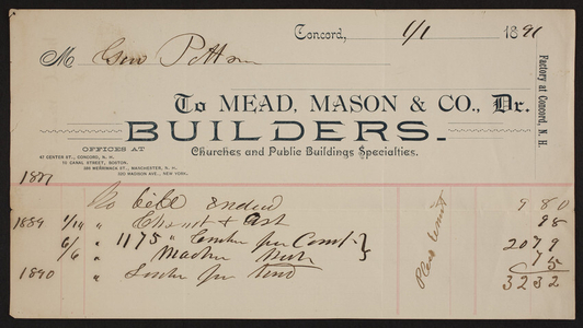 Billhead for Mead, Mason & Co., Dr., builders, 47 Center Street, Concord, New Hampshire, dated January 1, 1891