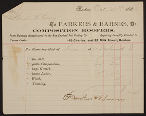 Billhead for Parkers & Barnes, Dr., composition roofers, 142 Charles Street and 22 Milk Street, Boston, Mass., dated October 23, 1883