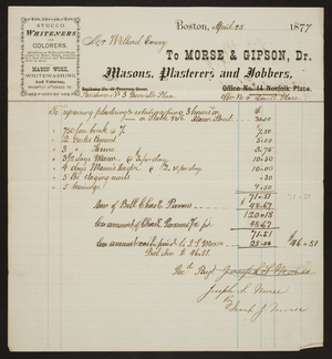 Billhead for Morse & Gipson, Dr., masons, plasterers and jobbers, Office No. 4 Lowell Place, Boston, Mass., dated April 25, 1877