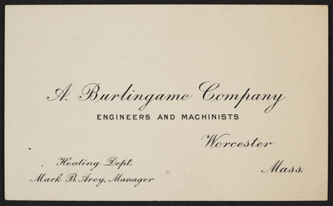 Trade card for A. Burlingame Company, engineers and machinists, Worcester, Mass., undated