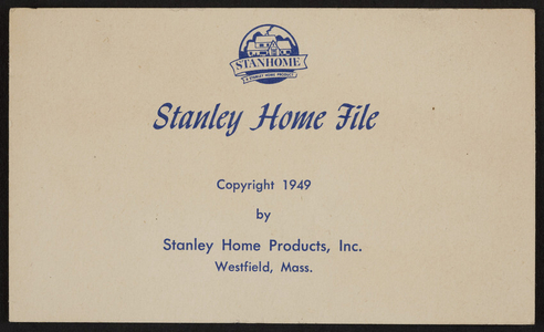 Trade card for Stanley Home Products, Westfield, Mass., 1949