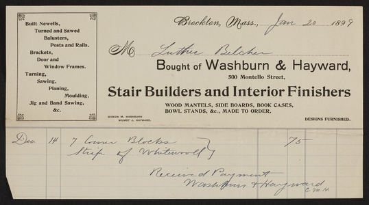 Billhead for Washburn & Hayward, stair builders and interior finishers, 500 Montello Street, Brockton, Mass., dated January 20, 1899