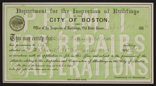 Building permit from the Department for the Inspection of Buildings, City of Boston, Boston, Mass., dated April 14, 1887