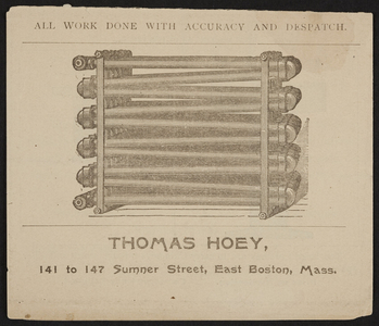 Advertisement for Thomas Hoey, plumbers' steam and gas filters' supplies, Office and Sales Room at 141 to 147 Sumner Street, Machine Shop and Store House at New Street, East Boston, Mass., undated
