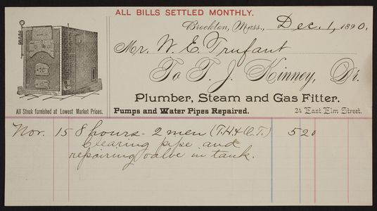 Billhead for T.J. Kinney, Dr., plumber, steam and gas fitter, 24 East Elm Street, Brockton, Mass., dated December 1, 1890