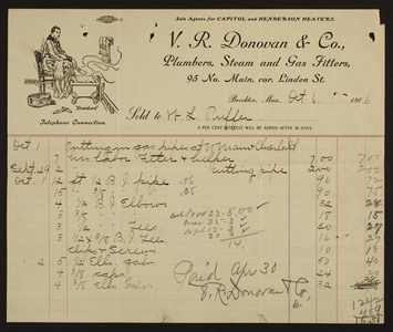 Billhead for V.R. Donovan & Co., plumbers, steam and gas fitters, 95 No. Main Street, corner Linden Street, Brockton, Mass., dated October 6, 1906