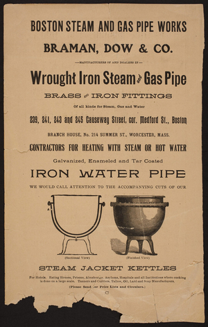 Advertisement for the Boston Steam and Gas Pipe Works, wrought iron steam and gas pipe, 239, 241, 243 and 245 Causeway Street, corner Medford Street, Boston, Mass., undated