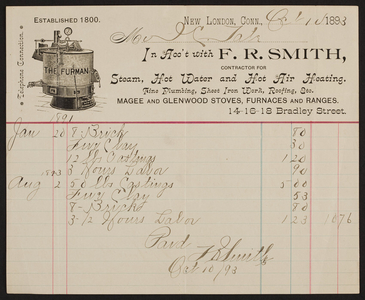 Billhead for F.R. Smith, steam, hot water and hot air heating, 14-16-18 Bradley Street, New London, Connecticut, dated October 10, 1893