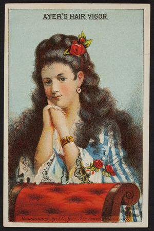 Trade card for Ayer's Hair Vigor, manufactured by J.C. Ayer & Co., Lowell, Mass., undated
