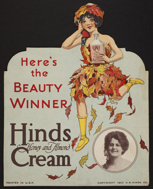 Advertisement for Hinds Honey and Almond Cream, A.S. Hinds Co., location unknown, 1923