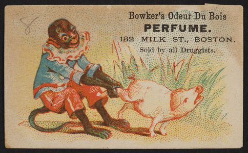 Trade card for Bowker's Odeur Du Bois Perfume, 132 Milk Street, Boston, Mass., undated