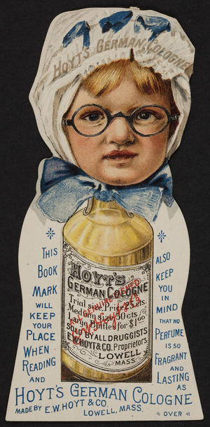 Bookmarks for Hoyt's German Cologne, E.W. Hoyt & Co., Lowell, Mass., undated