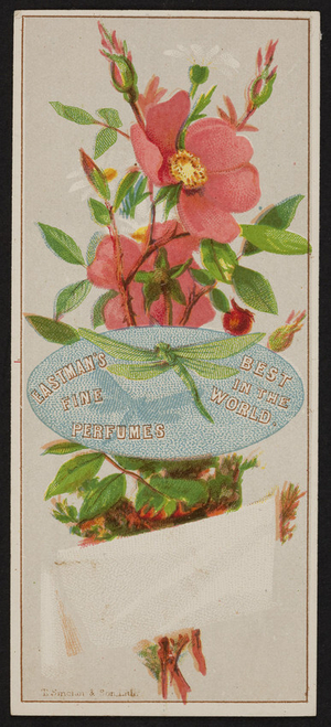 Trade card for Eastman's Fine Perfumes, I. Bartlett Patten & Co., druggists and apothecaries, 39 Harrison Avenue, Boston, Mass., undated