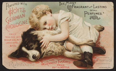 Trade card for Hoyt's German Cologne, E.W. Hoyt & Co., Lowell, Mass., 1892
