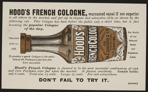 Trade card for Hood's French Cologne, M.C. Hood & Co., Boston, Mass., undated