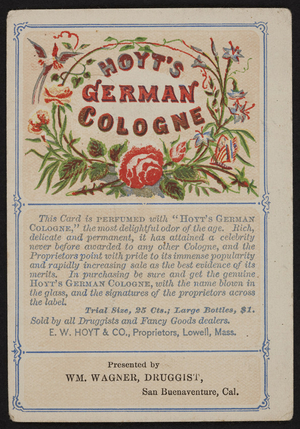 Trade card for Hoyt's German Cologne, E.W. Hoyt & Co., Lowell, Mass., undated