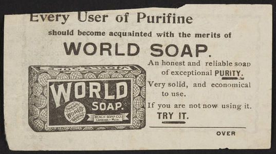 Advertisement for Purifine World Soap, Beach Soap Co., Lawrence, Mass., undated