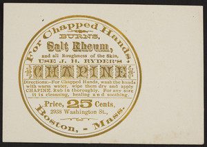 Trade card for J.H. Ryder's Chapine, 2938 Washington Street, Boston, Mass., undated
