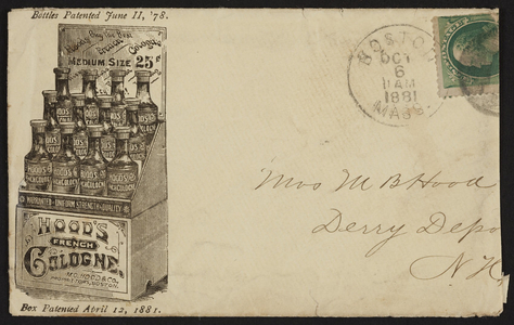 Envelope for Hood's French Cologne, M.C. Hood & Co., Boston, Mass., dated October 6, 1881