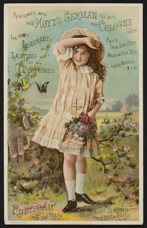 Trade card for Hoyt's German Cologne and Rubifoam for the Teeth, E.W. Hoyt & Co., Lowell, Mass., 1889