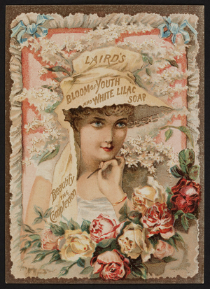 Trade card for Laird's Bloom of Youth and White Lilac Soap, 39 Barclay Street, New York, New York, undated
