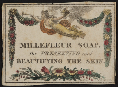 Advertisement for Millefleur Soap, location unknown, undated