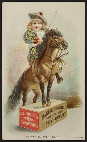 Trade card for B.T. Babbitt's Baking Powder, B.T. Babbitt, 82 Washington Street, New York, undated