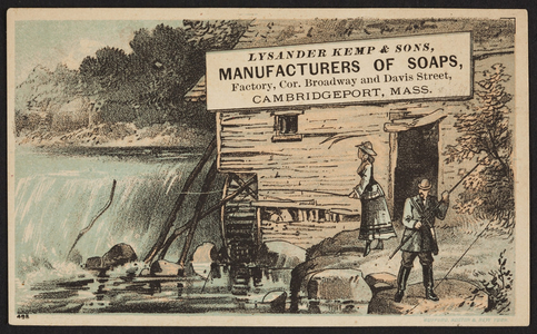 Trade card for Lysander Kemp & Sons, manufacturers of soaps, factory, corner of Broadway and Davis Street, Cambridgeport, Mass., undated