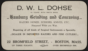 Trade card for Hamburg Grinding and Concaving, D.W.L. Dohse, 22 Bromfield Street, Boston, Mass., undated