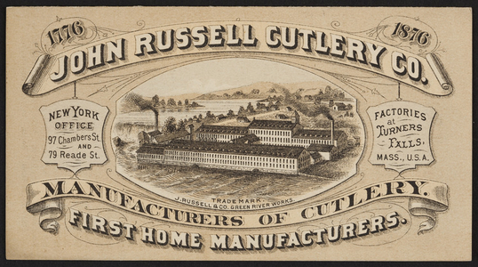 Brochure for the John Russell Cutlery Co., Turner Falls, Mass. and 97 Chambers and 79 Reade Streets, New York, 1876