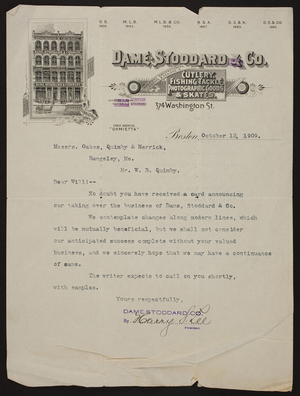 Letterhead for Dame, Stoddard & Co., cutlery, fishing tackle, photographic goods & skates, 374 Washington Street, Boston, Mass., dated October 12, 1909