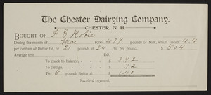 Billhead for The Chester Dairying Company, Chester, New Hampshire, dated March, 1900