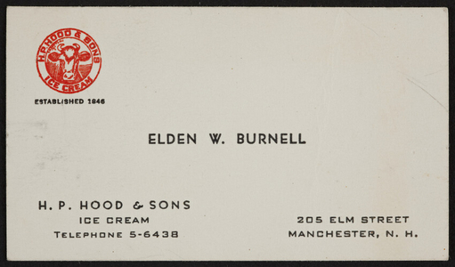 Business card for Elden W. Burnell, 205 Elm Street, Manchester, New Hampshire, undated