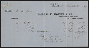 Billhead for C.F. Hovey & Co., importers of dry goods, 33 Summer Street, Boston, Mass., dated September 25, 1854