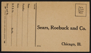 Envelope for Sears, Roebuck and Co., Chicago, Illinois, undated