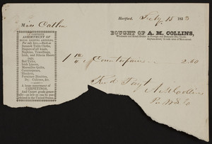Billhead for A.M. Collins, foreign and domestic dry goods, Asylum Street, Hartford, Connecticut, dated July 15, 1833