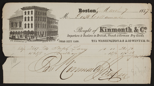 Billhead for Kinmonth & Co., dry goods, 275 Washington & 8 & 10 Winter Streets, Boston, Mass., dated March 7, 1857