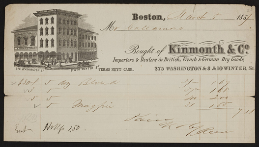 Billhead for Kinmonth & Co., dry goods, 275 Washington & 8 & 10 Winter Streets, Boston, Mass., dated March 5, 1857