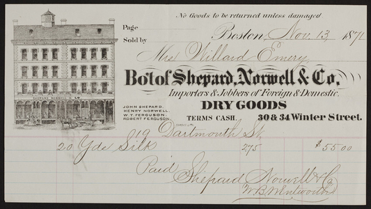 Billhead for Shepard, Norwell & Co., foreign & domestic dry goods, 30 & 34 Winter Street, Boston, Mass., dated November 13, 1871