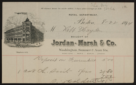 Billhead for Jordan Marsh & Co., department store, Washington, Summer & Avon Streets, Boston, Mass., dated August 22, 1894