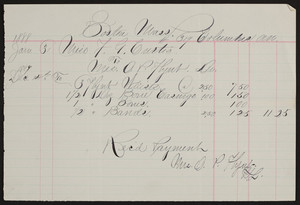 Billhead for Miss O.P. Flynt, Dr., 619 Columbus Avenue, Boston, Mass., dated January 31, 1888