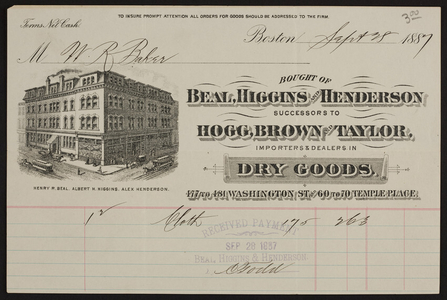 Billhead for Beal, Higgins and Henderson, importers & dealers in dry goods, 477 to 481 Washington Street and 60 to 70 Temple Place, Boston, Mass., dated September 28, 1887