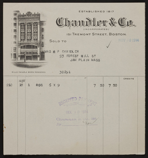 Billhead for Chandler & Co., 151 Tremont Street, Boston, Mass., dated November 30, 1914