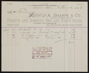 Billhead for A. Sharpe & Co., foreign and domestic dry and fancy goods, Nos. 209, 211, 213 and 215 Essex Street, Lawrence, Mass., dated November 10, 1888