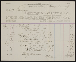 Billhead for A. Sharpe & Co., foreign and domestic dry and fancy goods, Nos. 209, 211, 213 and 215 Essex Street, Lawrence, Mass., dated May 10, 1889