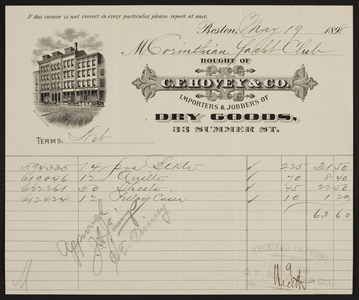 Billhead for C.F. Hovey & Co., importers and jobbers of dry goods, 33 Summer Street, Boston, Mass., dated May 19, 1898