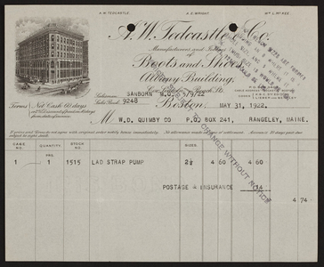 Billhead for A.W. Tedcastle & Co., boots and shoes, Albany Building, Boston, Mass., dated May 31, 1922