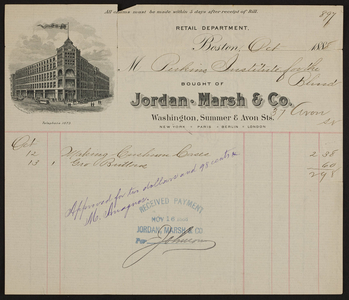 Billhead for Jordan Marsh & Co., department store, Washington, Summer & Avon Streets, Boston, Mass., dated October, 1888