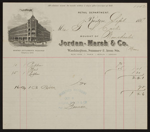 Billhead for Jordan Marsh & Co., department store, Washington, Summer & Avon Streets, Boston, Mass., dated September, 1889